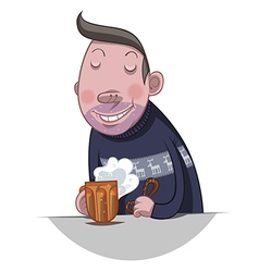 Fat man drinking beer vector