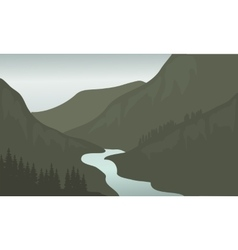 Silhouette of river in mountain vector