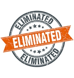 Eliminated round orange grungy vintage isolated vector