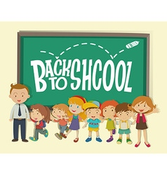 Back to school theme with teacher and students vector image