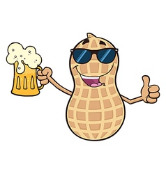 Beer Drinking Peanut Cartoon vector image vector image