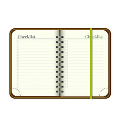 Book with blank checklist template open a notepa vector