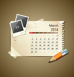 Calendar March 2014 vector image vector image
