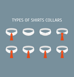 cartoon shirt collars different types icons set vector image