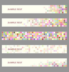 Colored square mosaic web banner template set vector image vector image