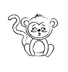 Figure cute monkey wild animal with face vector