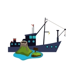 fishing boat and volcano island icon vector image vector image