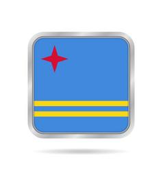 Flag of aruba shiny metallic gray square button vector