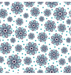Floral seamless pattern blue flower ornament vector