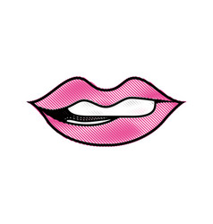 Grated mouth with lipstick and bite inferior lip vector