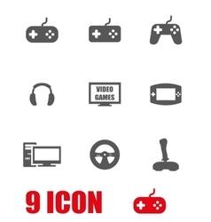 grey video games icon set vector image vector image
