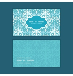 Light blue swirls damask horizontal frame vector