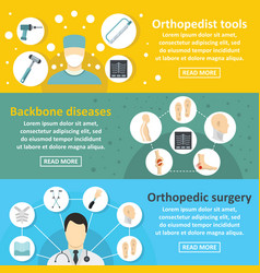 Orthopedist care banner horizontal set flat style vector
