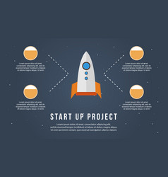 Start up project with rocket business infographic vector