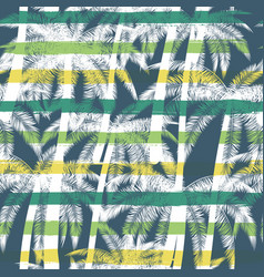 tropical summer print with palm with stripes vector image