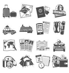 Vacation travel icons set black vector image