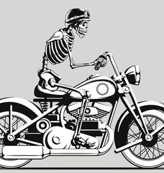 Vintage skeleton biker silhouette vector