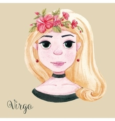 Watercolor horoscope sign virgo vector