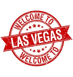 Welcome to las vegas red round ribbon stamp vector