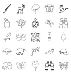 Wild territory icons set outline style vector