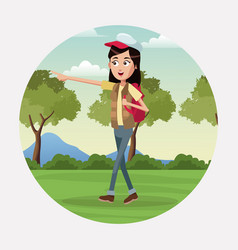 Woman walk backpack and cap landscape vector