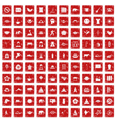100 yoga icons set grunge red vector