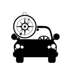 Car and compass icon vector