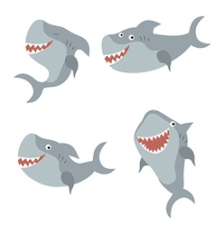 Set funny sharks vector