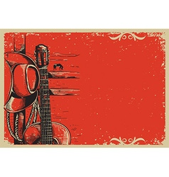 Country music poster with cowboy hat and guitar on vector