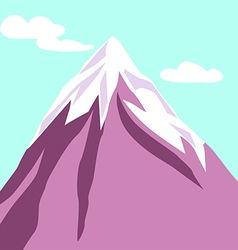 Purple mountain with clouds snowy peak vector