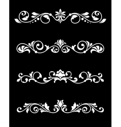 Retro borders and dividers in floral style vector