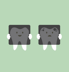 tooth holding dental x-ray film vector image