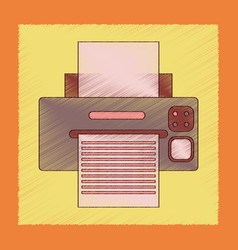 flat shading style icon computer printer vector image