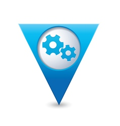 gear icon map pointer blue vector image