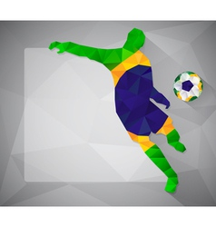 Brazilian football player with ball in triangles4 vector image