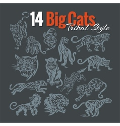 Big cats in tribal style set vector