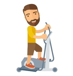 Man in gym sport workout exercises vector