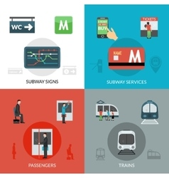 Subway icons set vector