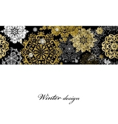 Winter design with golden snowflakes on white vector