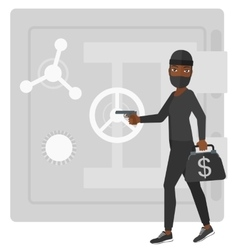 Robber with gun near safe vector