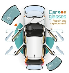 Car glasses repair and replacement vector