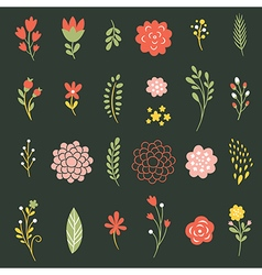 Set of flowers on black background vector