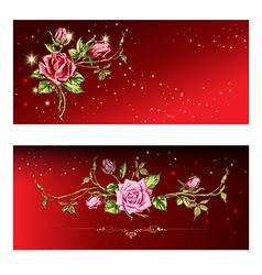 Red card with roses vector