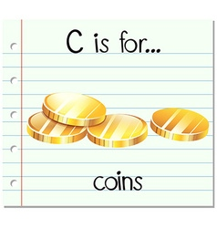 Flashcard letter c is for coins vector