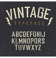 Vintage retro typeface stamped alphabet white vector