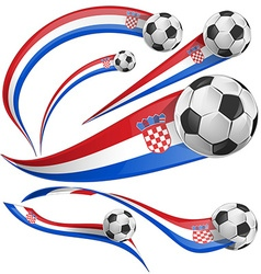 Croatia flag set with soccer ball vector