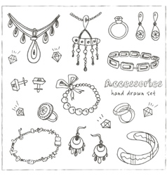 Accessories sketch icon set vector
