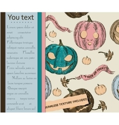 Halloween card and seamless texture with pumpkins vector