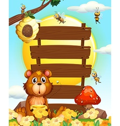 Wooden signs with bear and bees vector image