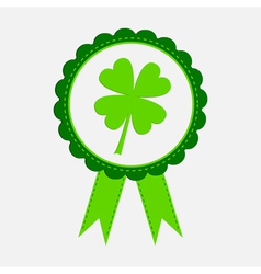 Award with clover leaf and ribbons Patricks day vector image